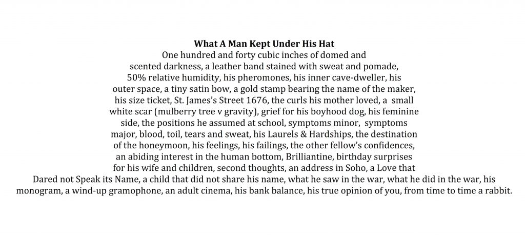What A Man Kept Under His Hat Commended Poem 2016 Competition