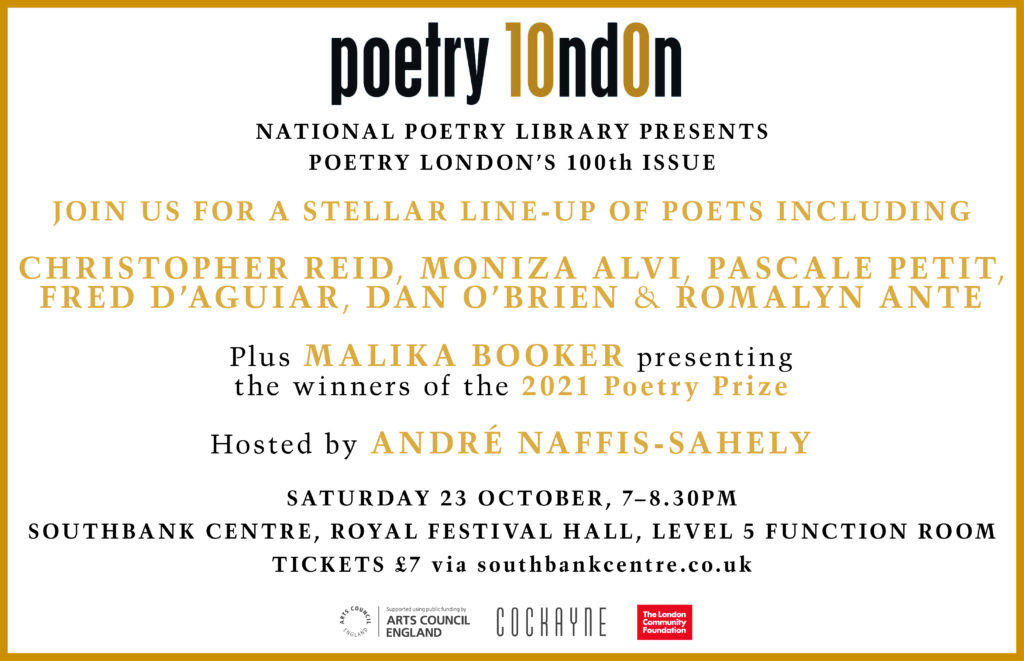 Poetry London Issue 100 launch flyer